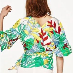 Zara tropical print wrap blouse